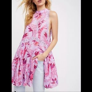 FREE PEOPLE She Moves Chemise Mini Floral Dress S
